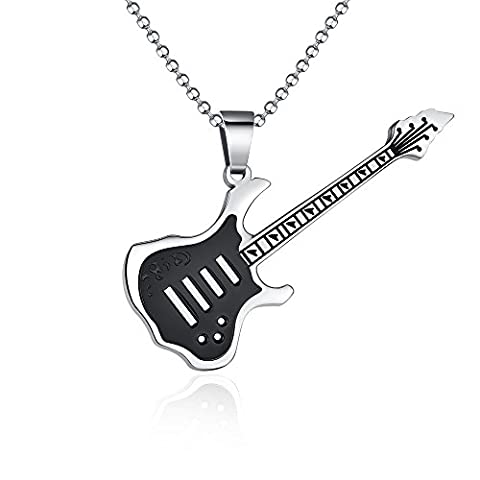 Large Stainless Steel Music Electric Guitar Pendants (Black) - Electric Guitar Necklace Jewelry