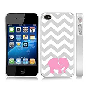 Cute Pink Elephant Gray Chevron Zig Zag Snap-On Cover Hard Carrying Case for iPhone 4/4S (White)