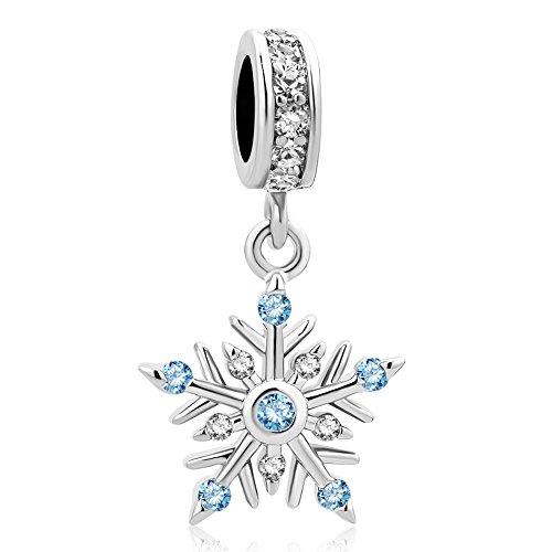 Heart of Charms Merry Christmas Shiny Snowflake Charms Dangle Charms Beads for Charm Bracelets - Christmas Charm Snowflake