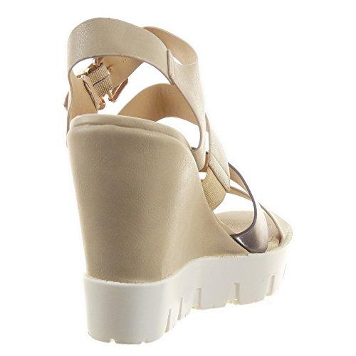 Sopily - damen Mode Schuhe Sandalen Pumpe Plateauschuhe glänzende Multi-Zaum Schleife - Beige
