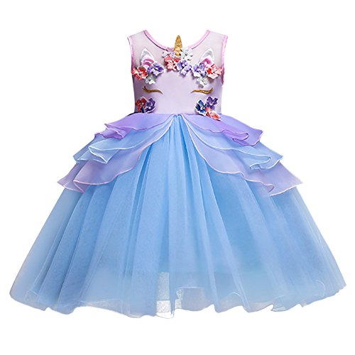 Kids Girls Flower Tulle Birthday Unicorn Costume Cosplay Princess Pageant Tutu Dress up Headband Party Boutique Outfits Evening Dance Gown Y# Blue 4-5 Years