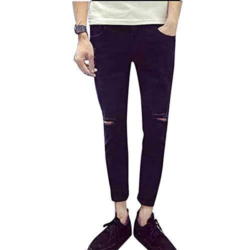 En Da Pantaloni Uomo Hole Nero Denim Knee Jeans Pocket Fit Slim IHBxw