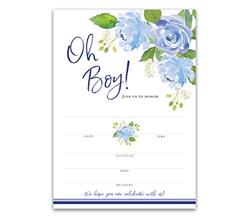 Baby Shower Invitations - Pack of 25 - Oh Boy Blue Floral Invites Blank Fill-in SKU I705-INV1 (Blue And Brown Baby Shower Invitations)