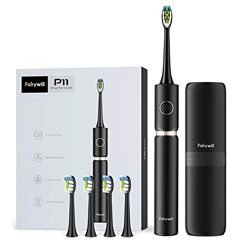Fairywill Sonic Whitening Electric Toothbrush - ADA Accepted Travel Rechargeable Toohthbrush for Adults