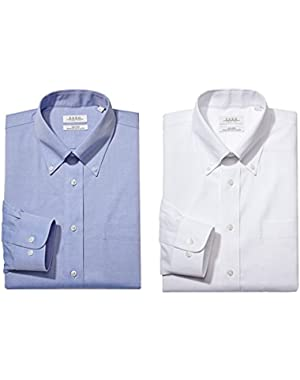Men's Classic Fit Solid Button Down Collar Dress Shirt (Pack of 2)