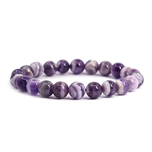 "Natural African Amethyst Gemstone 8mm Round Beads Stretch Bracelet 7"" Unisex"