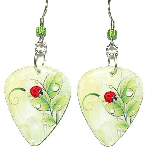 Bright Lime Green & Red Ladybug Guitar Pick Dangle Earrings ()