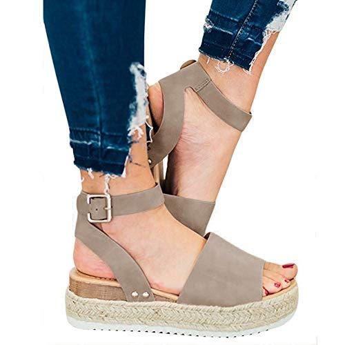 (XMWEALTHY Women's Ankle Strap Platform Wedges Sandals Casual Open Toe Espadrilles Sandals for Summer Khaki US 8)