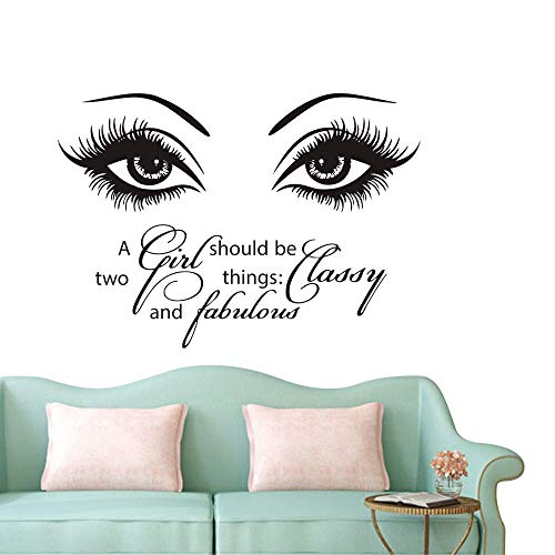 Fabulous Eye - Beauty Eyes Salon Wall Sticker Eyelash Quotes A Girl Should be Two Things Classy and Fabulous Decor Wall Mural NY-380 (57X40CM)