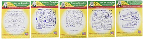 (Aunt Martha's Iron On Transfer Patterns for Stitching, Embroidery or Fabric Painting, Set of 5)