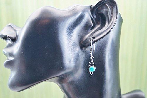 Boucles d'oreilles plaqué argent avec turquoise 8 mm x 36 mm