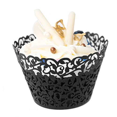 GOLF 100Pcs Cupcake Wrappers | Artistic Bake Cake Paper Filigree Little Vine Lace Laser Cut Liner Baking Cup Wraps Muffin CaseTrays for Wedding Party Birthday Decoration (Black) by GOLF (Image #2)