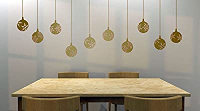 """Set of (10) 4"""" Snowflake Decorative Ornaments Removable Vinyl Decal - Perfect Holiday and Christmas stickers for Walls, Windows, Storefronts, and Offices - Gold Metallic"""
