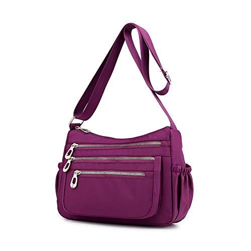 CactusAngui Bolso bandolera de nylon impermeable bolsa de mensajero de gran capacidad bolsa de momia Purple