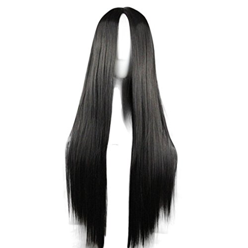 75cm Long Straight Hair Black No Bangs Heat Resistant Cosplay/Party Full Wigs