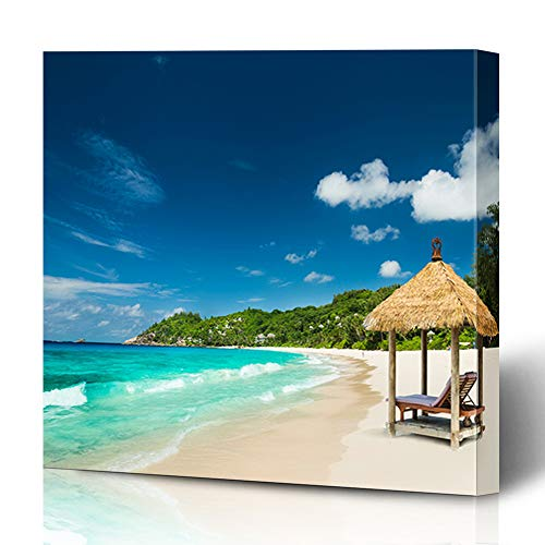 Ahawoso Canvas Prints Wall Art Printing 8x8 Carribean Beach Beds Roof Turquoise Luxurious Parks Luxury Day Island Tropic Nature Seychelles Hut Painting Artwork Home Living Room Office Bedroom ()