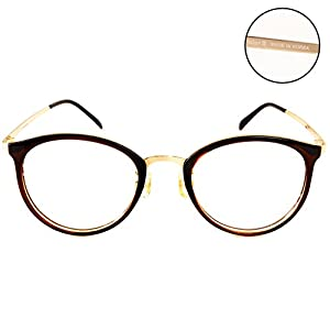 Luvoirgroup | Premium Classic Fashion Glasses Frame Brown Circle Round Framed Spring Temple Clear Lens Eye Glasses | Beautiful for your fashion items. Made in Korea