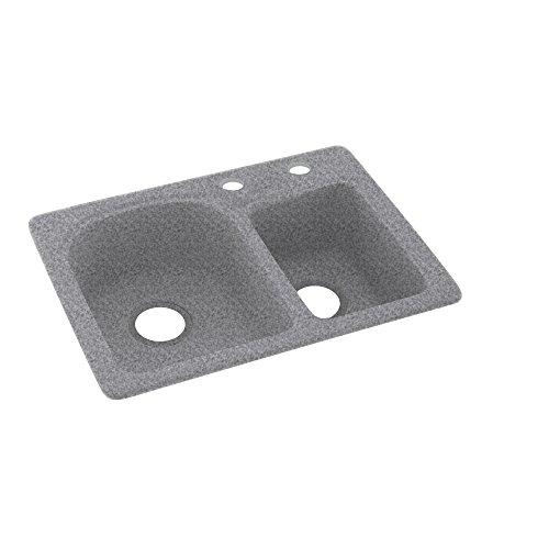 Swanstone KS02518DB.042-2C 2-Hole Solid Surface Kitchen Sink, 18'' x 25'', Gray Granite by Swanstone (Image #1)