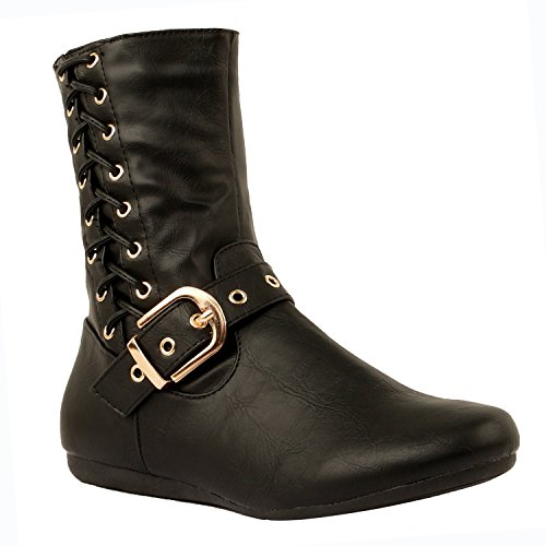 Image of Guilty Heart | Womens Comfortable Faux Suede Lace Up Side Zipper Warm Flat Boots - 2 Length