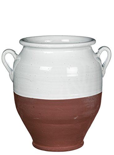 (Sullivans Rustic Decorative Urn Ceramic White and Brown Home Decor)