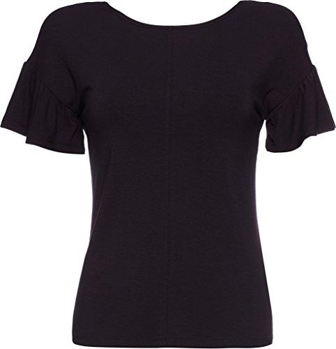 FIND Camiseta de Manga Corta con Volantes para Mujer Negro (Black)