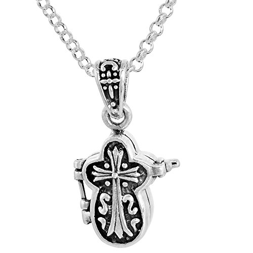 Sterling Silver Prayer Box Necklace Cross Shaped Motif, 5/8 inch 16 inch Chain (Shaped Prayer Box)
