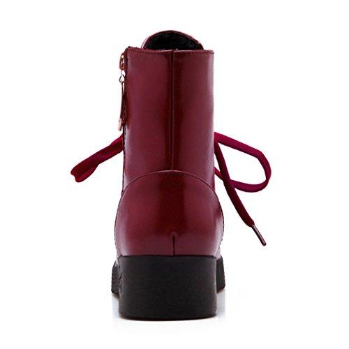 massa e elegante Stivali ed rotonda X Stivali femmina la ZQ Red di Ryu testa inverno autunno Martin e In 100 in viti piattina bold qUcv1t