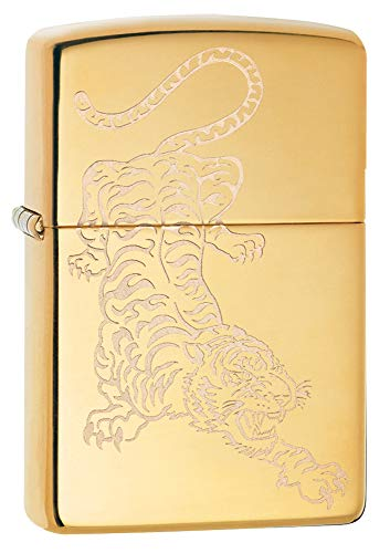 Zippo High Polish Brass Tiger Design Pocket Lighter