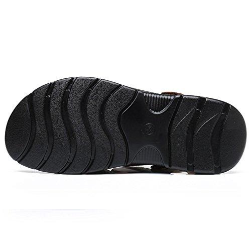 Aperte Aperte Dita Di Pelle Da In Trekking Estivi Uomo Black Pantofole Infradito In Scarpe Sandali Da Sportivi Sandali Punta 0OPaTPn