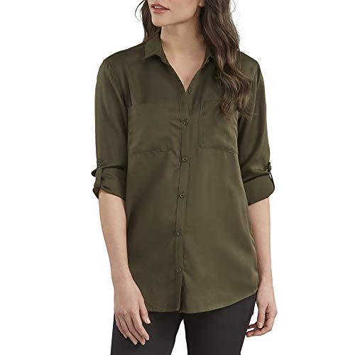 Dickies Women's Long Sleeve Lyocell Button Up Shirt, Rinsed Tactical Green Medium (Dickies Womens Long Sleeve Shirts)