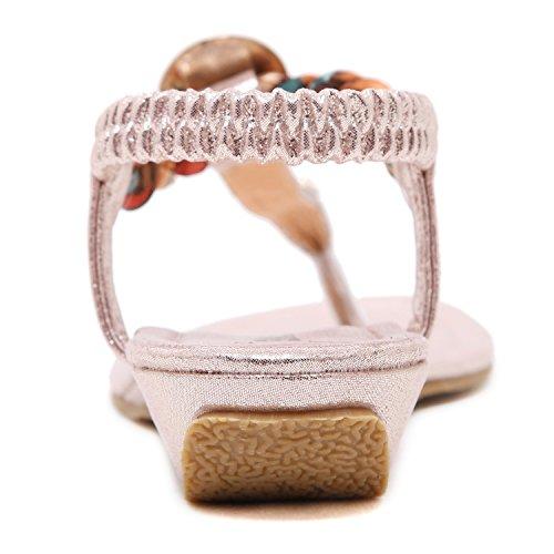 DQQ Damen Exotic Strass flach Sandale, Pink - rose - Größe: 36.5