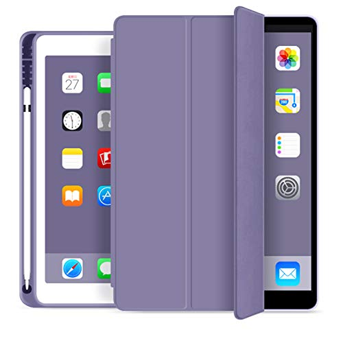 KenKe iPad 2018 / 2017 Case with Pencil Holder Smart iPad Case Trifold Stand with Shockproof Soft TPU Back Cover and Auto Sleep/Wake Function for iPad 9.7 inch iPad 5th/6th Generation case-(Purple)
