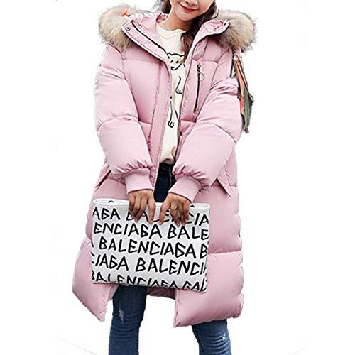 Bolsillos Retro Abrigos Manga Cuello De Larga Botón Pluma Cremallera Elegante Invierno Cómodo Rosa Abrigo Chaqueta Piel Laterales Mujer Con qA06vw