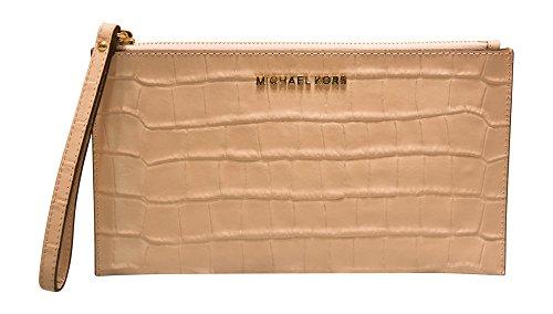 Michael Kors Bedford Embossed Leather Large Zip Clutch, Ballet by Michael Kors