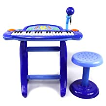 Little Rockers Deluxe Childrens 36 Keys Toy Piano Keyboard w/ Microphone & Chair (Blue) Records & Plays Back Your Little Ones Music by Velocity Toys