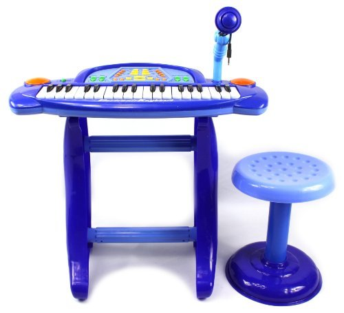 Little Rockers Deluxe Childrens 36 Keys Toy Piano Keyboard w/ Microphone & Chair (Blue) Records & Plays Back Your Little Ones (Deluxe Percussion Set)