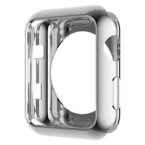 Compatible with Apple Watch Case 38mm Silver, TPU Plated Cover Scratch-Resistant Protective Smartwatch Protector Bumper for iwatch Series 1 2 3 Sport Edition