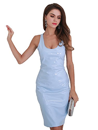 5eff2763e5f Missord women sexy irregular neck latex sleeveless party club dress (Large