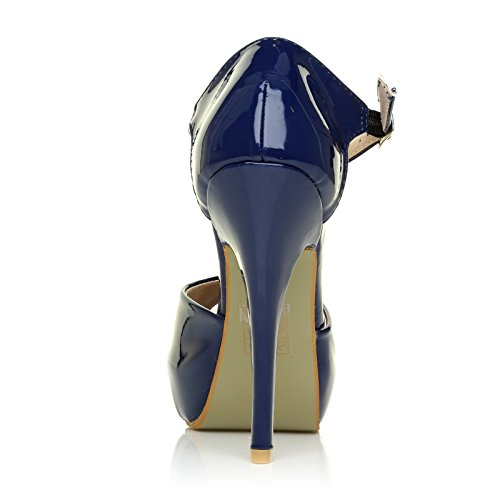 Taglia Blu tacco donna Patent UK Navy Scarpe ShuWish col unica wtqFx8SnX