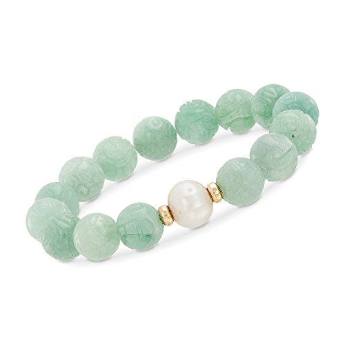 Ross-Simons 11-12mm Cultured Pearl and Carved Green Jade Chinese