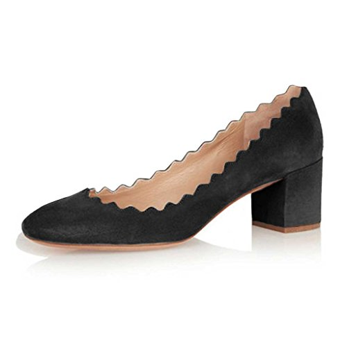 FSJ Daily Walking Comfy Faux-Suede Pumps Wave Topline Block Heel Round Toe Dress Shoes Size 15 Black