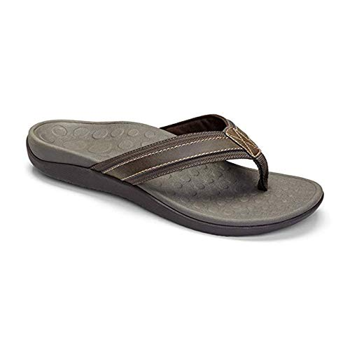 Vionic Men's Tide Toe-Post Sandal - Flip Flop with Concealed Orthotic Arch Support Brown 11 M US