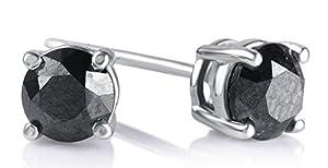 1.00 Cttw Round Black Diamond Stud Earrings in Sterling Silver