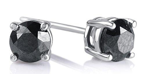 1.00 Cttw Round Black Diamond Stud Earrings in Sterling Silver (1.00cttw Diamond)