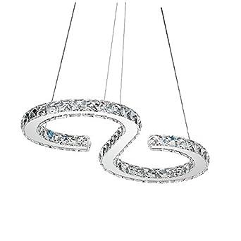 Kristall Pendelleuchte LED Kronleuchter Hikenn S Form Dimmbar Deckenleuchte Lster Mit Fernbedienung Fr Wohnzimmer