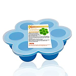Silicone Baby Food Freezer Tray with Clip on Lid Perfect Storage Container for Homemade Baby Food, Vegetable and Fruit Purees,Blue