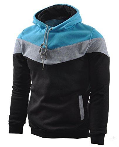 Pocket Watch Wholesale New - Mooncolour Mens Novelty Color Block Hoodies Cozy Sport Autumn Outwear  Black  US Large Black US Large