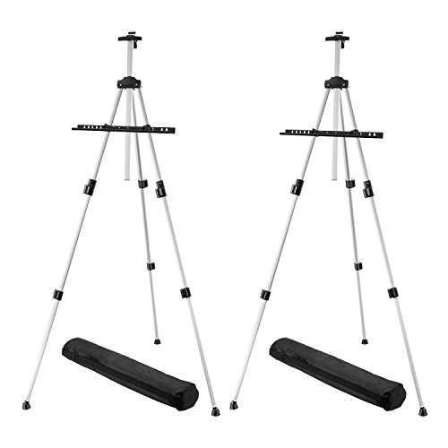 Poster Portable Display (Magicfly (2 Pack) 66 Inch Display Easel for Painting Posters, Aluminum Field Easel for Floor Table Top, Adjustable Lightweight Telescoping Easel)