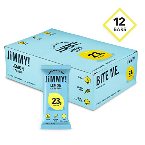JiMMY! Clean Protein Bars, Natural & Gluten Free, High Protein, Low Sugar, Lemon Crush, 12 Pack -
