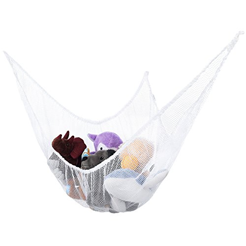 Stuffed Animal Hammock Toy Storage: Hanging Net Corner Wall Organizer for Storing Plush Toys, Pool Toys, Sports Gear, Baby Toys, Bedding & Towels: Extra Large 7' Mesh Child Safe Corner Pet Net (Storing Toys)